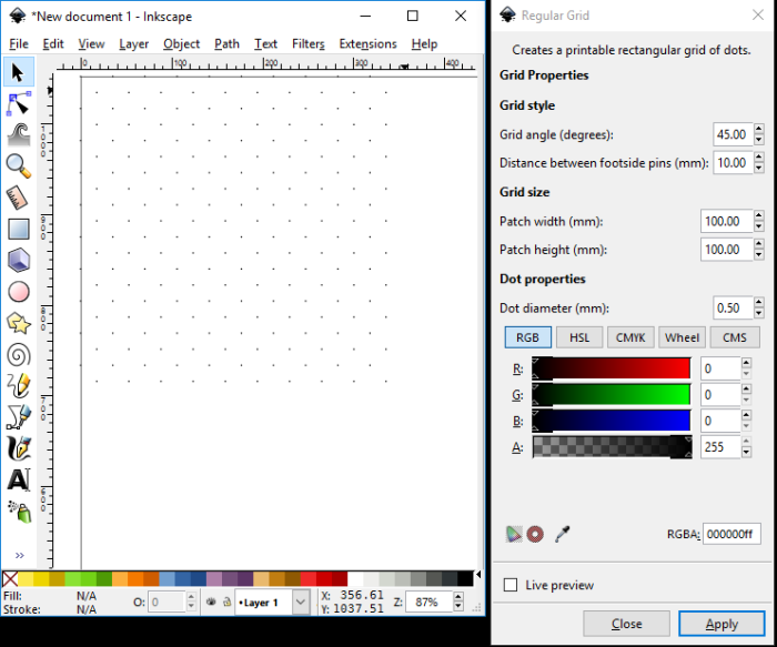Screenshot from Inkscape: Regular Grid tool